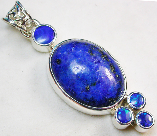 39.50 CTS DOUBLET AND LAPIS PENDANT -FACTORY DIRECT [SOJ963]