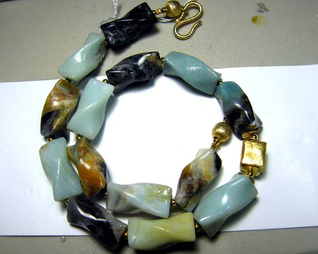 469 CTS PERU OPAL BEADS TWIST  DRILLED NECKLACE  OF-1653
