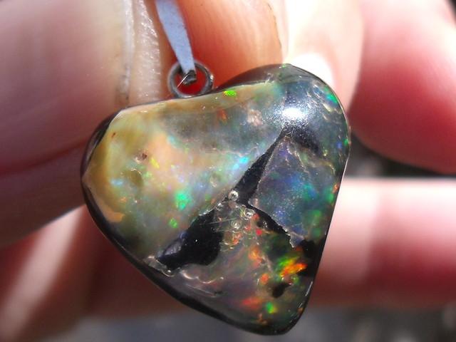 FIERY OPALS SILVER LOVE HEART MOSAIC PENDANT (H009)