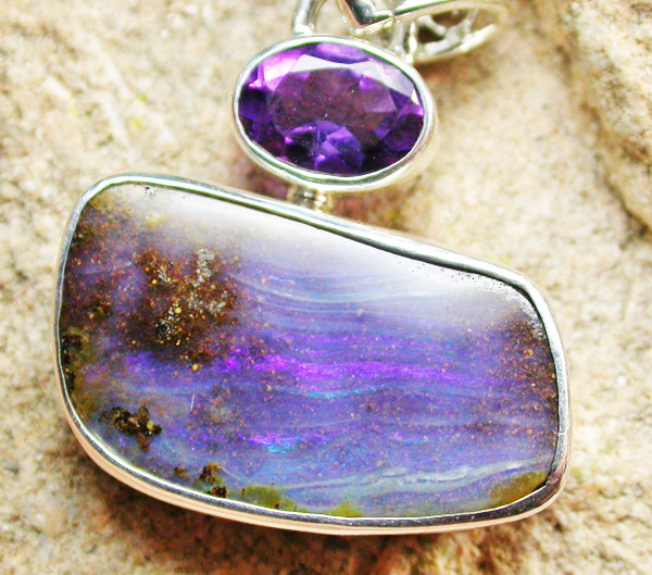19.15 CTS BOULDER AND AMETHYST PENDANT-FACTORY [SOJ1143]