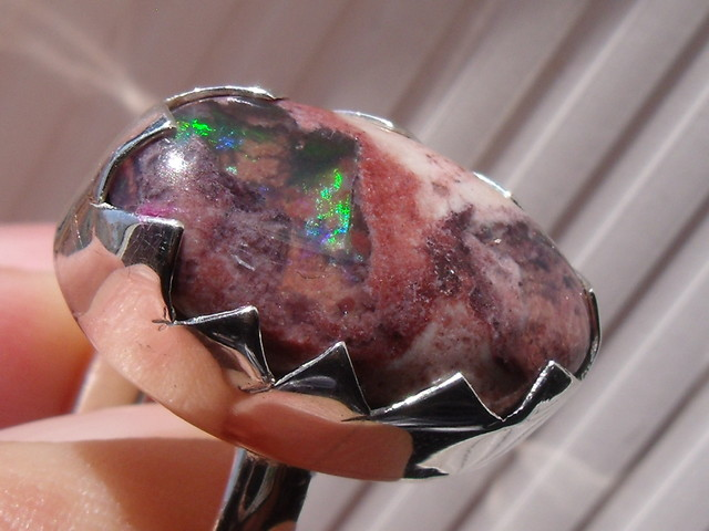 MATRIX OPAL GEM & SILVER FASHION RING SIZE 8.5
