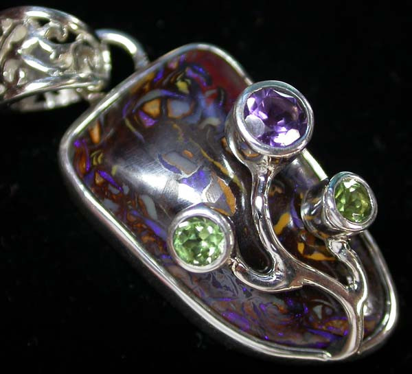 BOULDER PENDANT WITH TREE BRANCH GEMS- 33.30-CTS [SJ 1105]