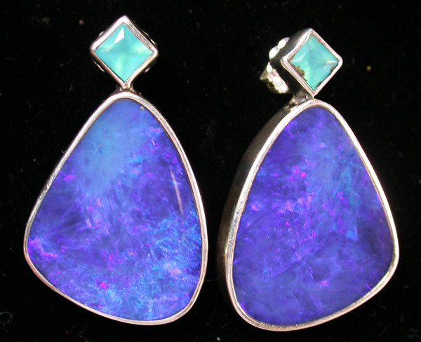 43.75 CTS DOUBLET EARRING/CHALCENDONY-FACTORY DIRECT SOJ1158