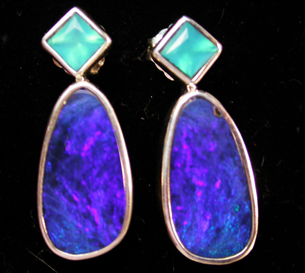22.60 CTS DOUBLET EARRING/CHALCENDONY-FACTORY DIRECT SOJ1163