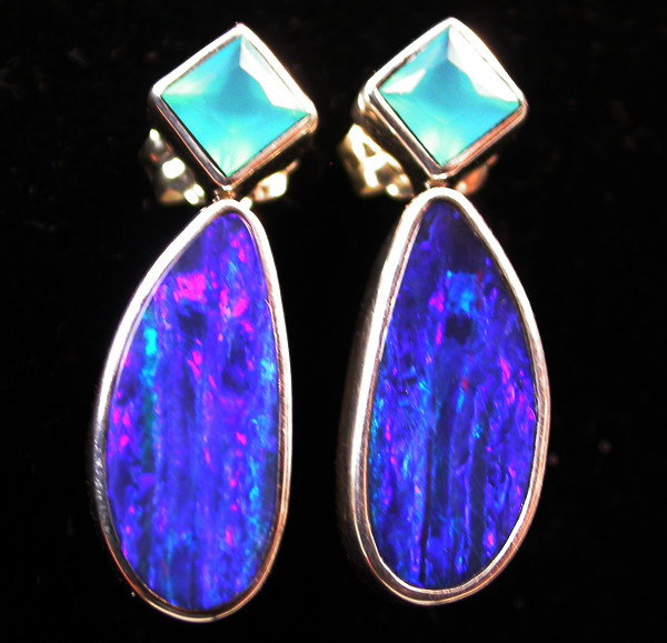 18.85 CTS DOUBLET EARRING/CHALCENDONY-FACTORY DIRECT SOJ1178