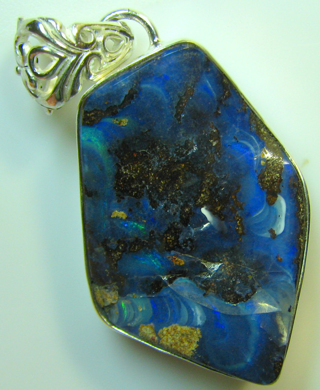HAND MADE SILVER STAMP 925 BOULDER OPAL PENDANT 63.25 CTS A8737