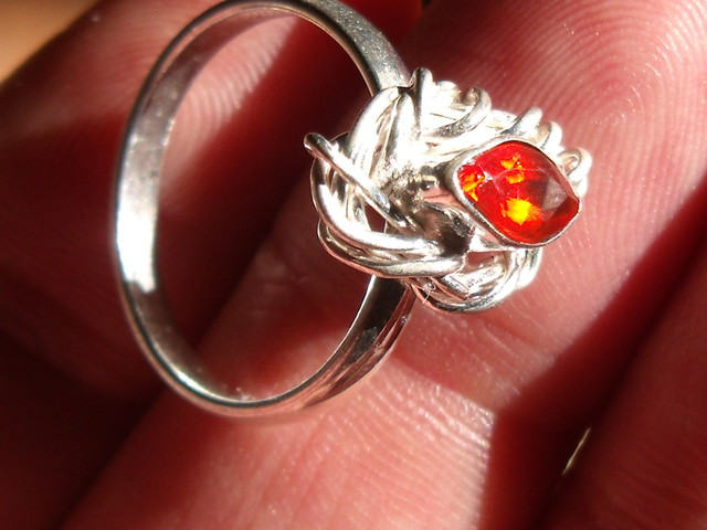 CHERRY OPAL GEM & TAXCO .925 STERLING SILVER RING SZ 7