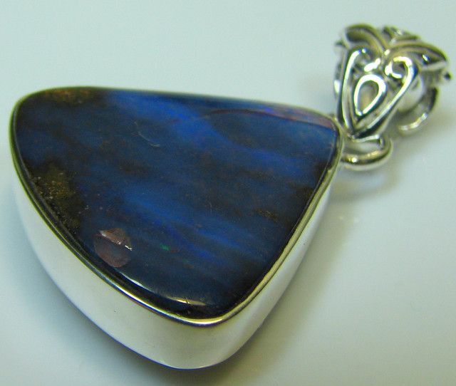 HAND MADE SILVER STAMP 925 BOULDER OPAL PENDANT 34.25 CTS A8761