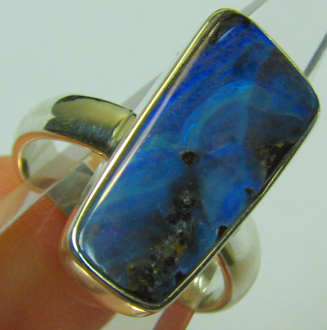 NEW LINE - SILVER STAMPED 925 BOULDER OPAL RING SIZE USA 8 A8791