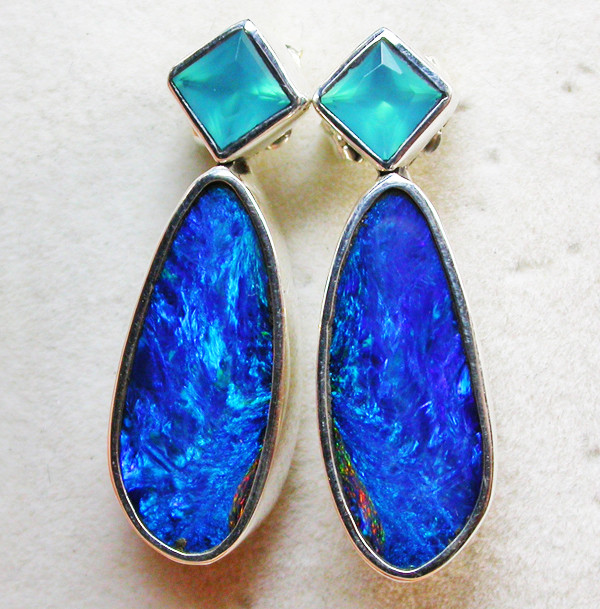 22.30 CTS DOUBLET EARRING/CHALCENDONY-FACTORY DIRECT SOJ1281