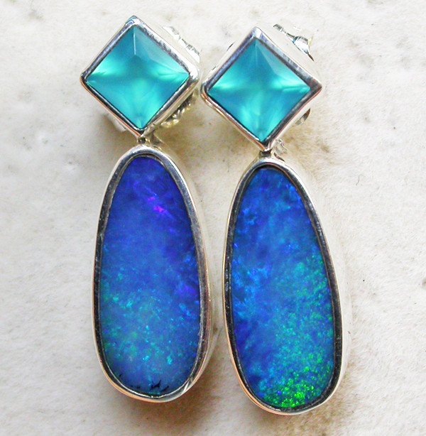 17.85 CTS DOUBLET EARRING/CHALCENDONY-FACTORY DIRECT SOJ1313