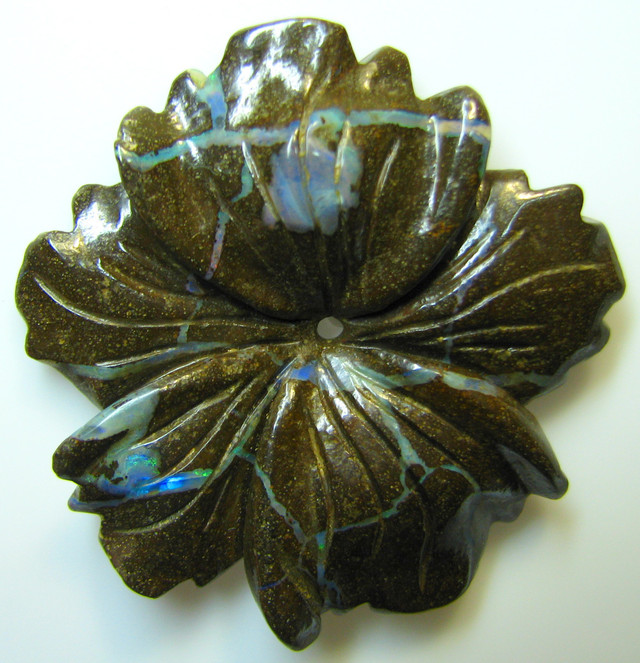 """BOULDER CARVING """" FLOWER """" TOP POLISH GREAT PIECE 50.07 CTS A8846"""