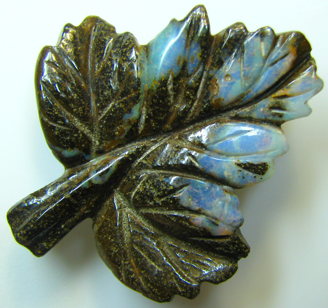 """BOULDER CARVING """" LEAF """" TOP POLISH GREAT PIECE 46.37 CTS A8875"""