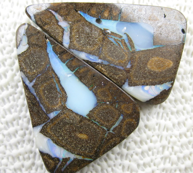 rare large pair boulder opals 213.55 cst total from colourmine opals.