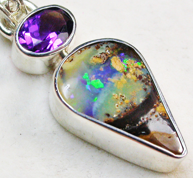 13.50 CTS BOULDER AND AMETHYST PENDANT-FACTORY [SOJ1400]