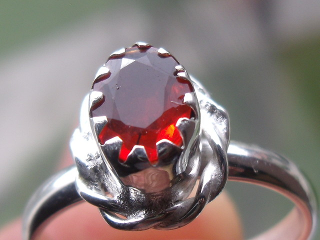 CHERRY OPAL GEMSTONE SILVER FASHION RING SIZE 6.75