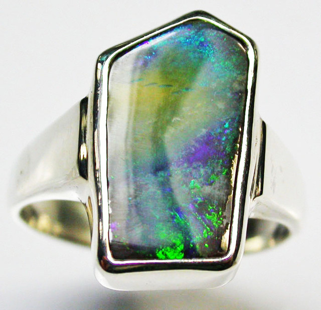 8 RING SIZE BOULDER OPAL RING--FACTORY DIRECT - [SOJ1484]