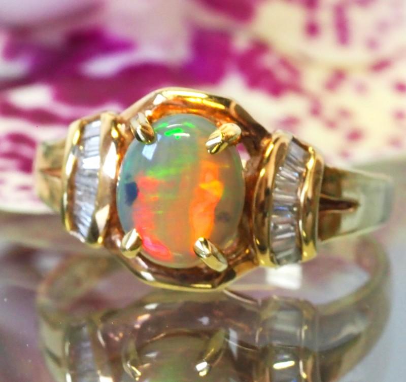 OPAL/RUSSIAN  DIAMOND RING SIZE 6 1/2   18 K    CK 200