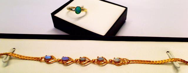 Beautiful set of Black Opal bracelet and ring.