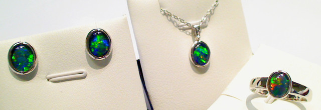 Beautiful set of Triplet Opal ring, earrings and pendant