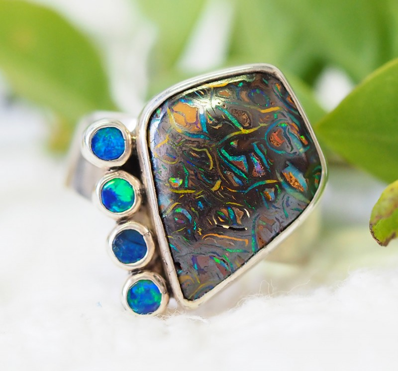 8 RING SIZE BOULDER OPAL RING WITH DOUBLETS- [SOJ1641]