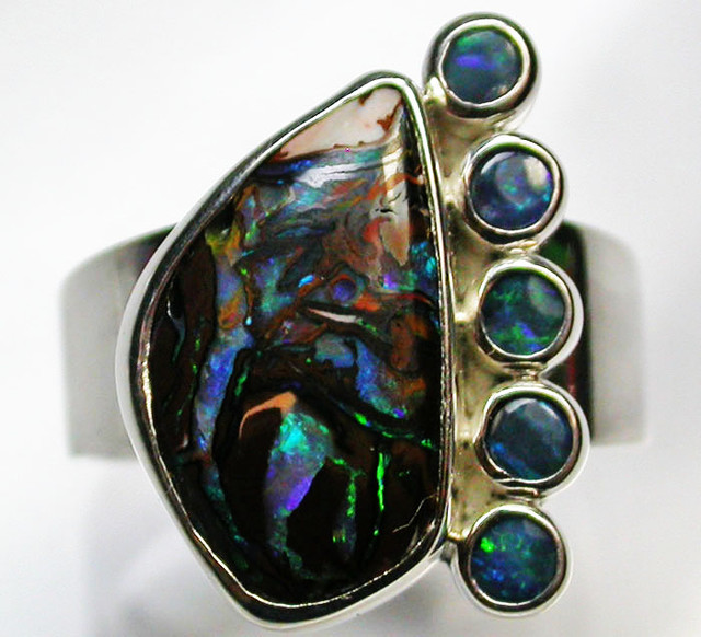8 RING SIZE BOULDER OPAL RING WITH DOUBLETS- [SOJ1646]