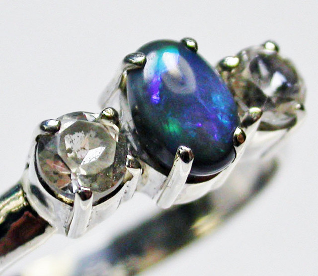 9 RING SIZE SOLID OPAL WITH TOPAZ FACTORY DIRECT [SOJ1663]SH