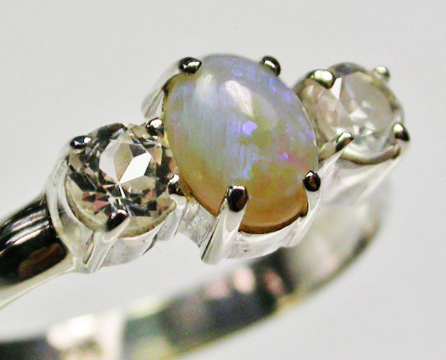 9 RING SIZE SOLID OPAL WITH TOPAZ FACTORY DIRECT [SOJ1665]
