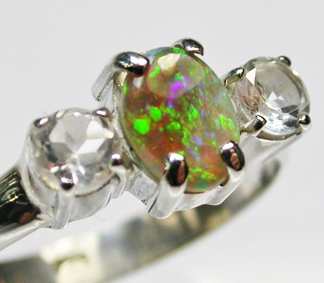7.5 RING SIZE SOLID OPAL WITH TOPAZ FACTORY DIRECT [SOJ1667]SH
