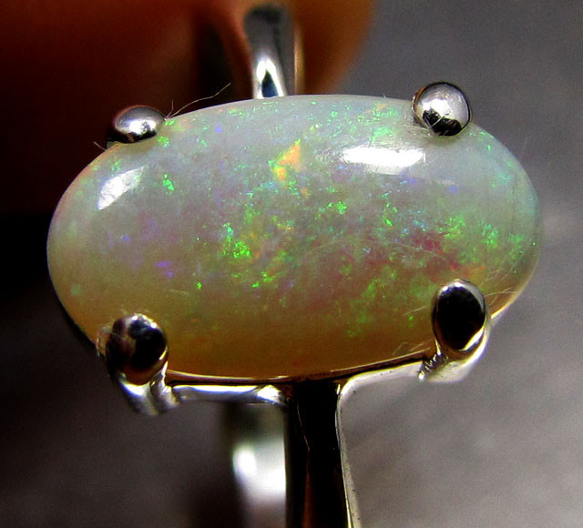 FIRE CRYSTAL   OPAL SILVER RING   SIZE   10.5     CK 1460