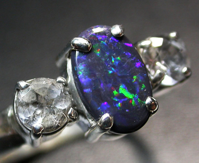 8.5 RING SIZE SOLID OPAL WITH TOPAZ FACTORY DIRECT [SOJ1710]