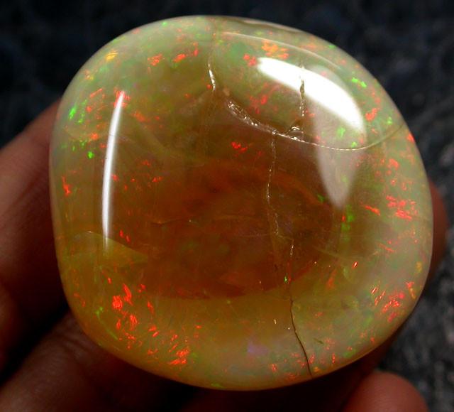 opal is displayed in black display case