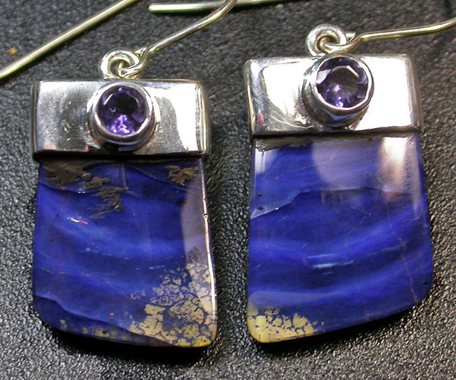 26.50 CTS BOULDER EARRINGS+WATER SAPPHIRE -SILVER [SOJ1814]