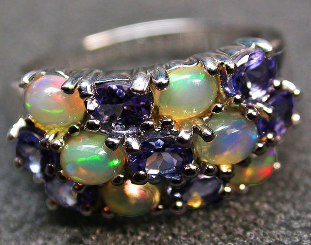 7 RING SIZE TANZANITE + ETHIOPIAN OPAL-STYLISH [SOJ2004]