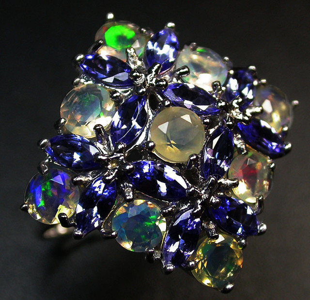 8.5 RING SIZE TANZANITE + ETHIOPIAN OPAL-STYLISH [SOJ2010]