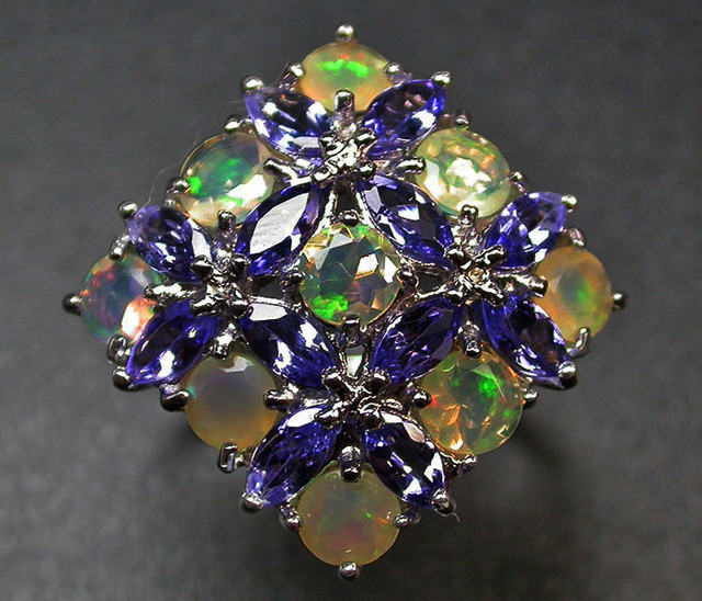 8.5 RING SIZE TANZANITE + ETHIOPIAN OPAL-STYLISH [SOJ2011]