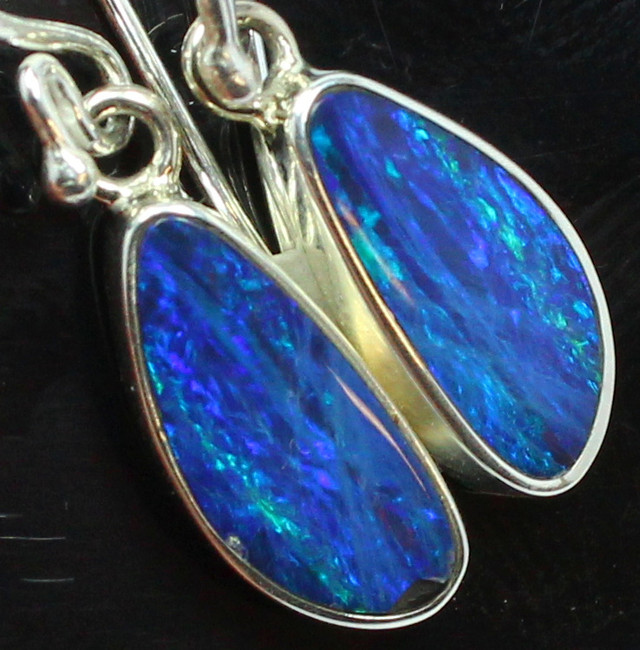13.65 CTS DOUBLET OPAL STERLING SILVER HOOK 925 EARRINGS A9598