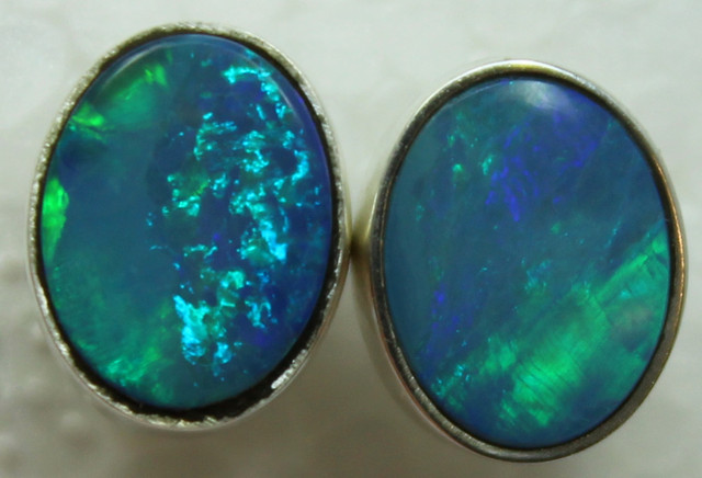 12.00 CTS DOUBLET OPAL STERLING SILVER STUD 925 EARRINGS A9617