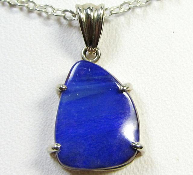 SEA BLUE BOULDER OPAL W/G  PENDANT     CK 1612