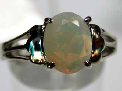 FACETED CRYSTAL OPAL GOLD RING 18K SIZE  6   G274