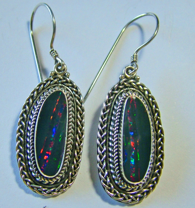 41.0CTS  DOUBLET SILVER EARRINGS-FACTORY DIRECT [SOJ 2195 ]