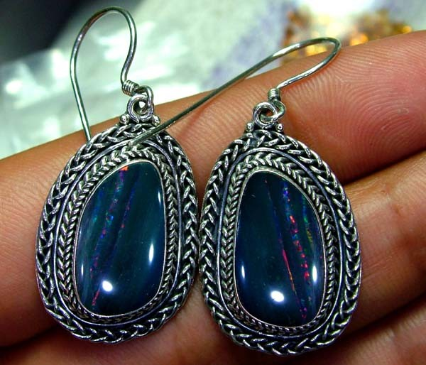 46.50CTS  DOUBLET SILVER EARRINGS-FACTORY DIRECT [SOJ2216 ]