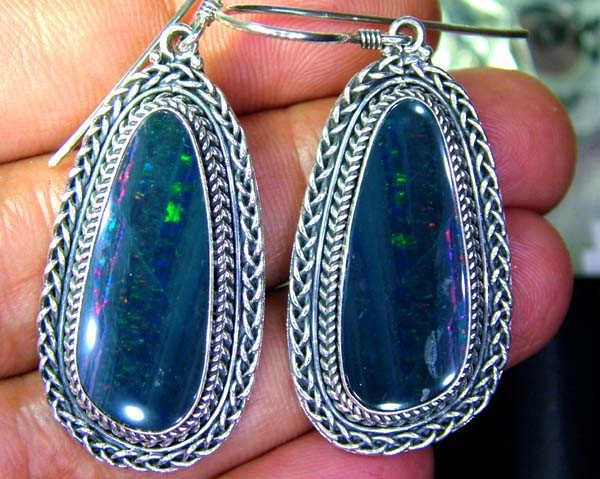 58CTS  DOUBLET SILVER EARRINGS-FACTORY DIRECT [SOJ2225 ]