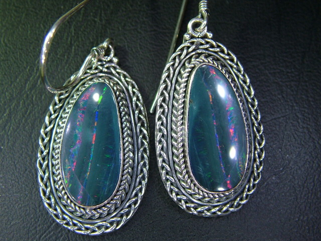 44.50CTS  DOUBLET SILVER EARRINGS-FACTORY DIRECT [SOJ2229 ]