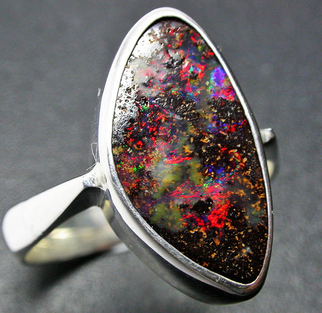 7.5 RING SIZE NATURAL BOULDER OPAL RING SILVER [SOJ2263]