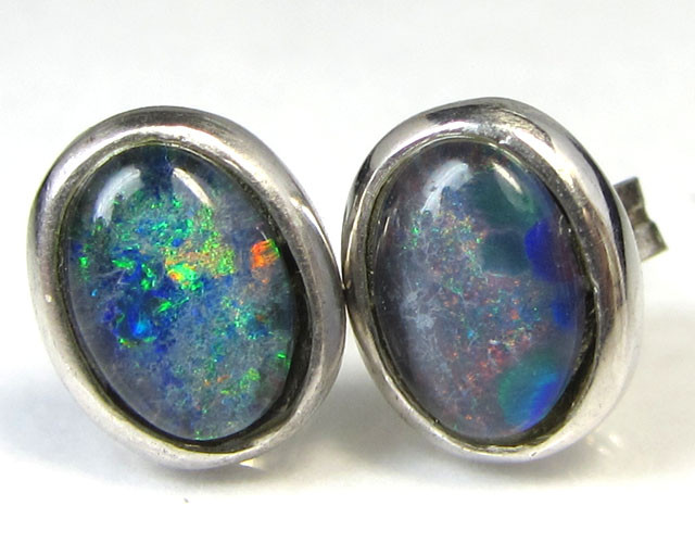 8x6 mm TRIPLET  OPAL EARRINGS SILVER   CK 1640