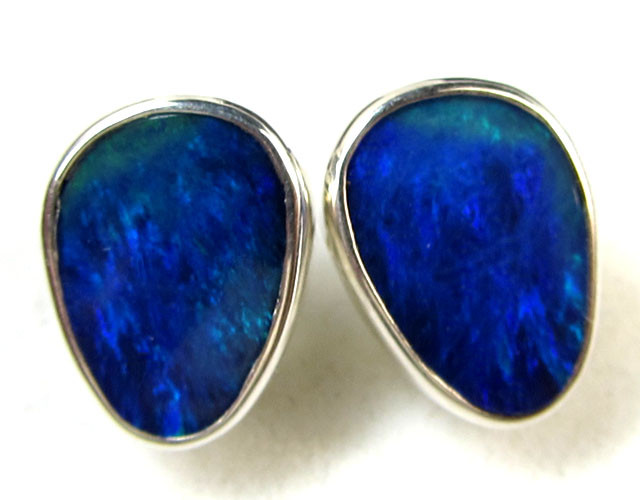 BLUE DOUBLET  OPAL SILVER  EARRINGS  CK 1698