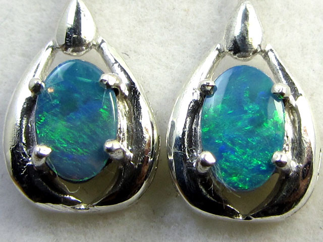 SWING   DOUBLET  OPAL EARRINGS STERLING SILVER  CK1797