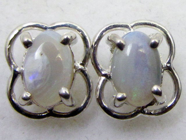 SOLID CRYSTAL   OPAL EARRINGS STERLING SILVER  CK1808