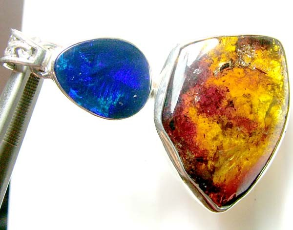 44 CTS AMBER OPAL DOUBLET SILVER PENDANT   OF-144